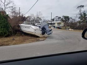 Boat on the road